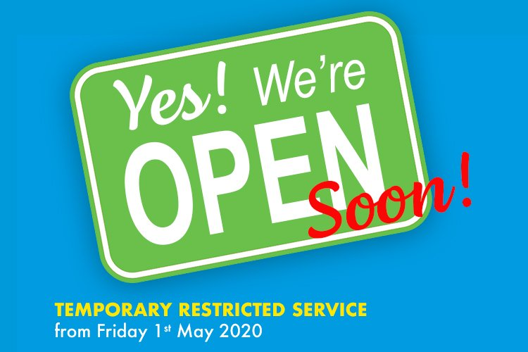 Re-opening Friday 1st May 2020!